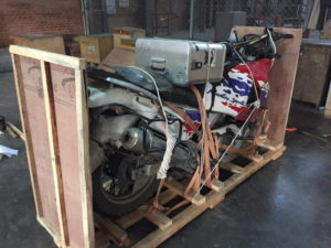 Motorbike being packed and shipped from Nepal